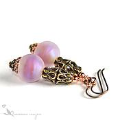 Украшения handmade. Livemaster - original item Pink opal lampwork earrings. Handmade.