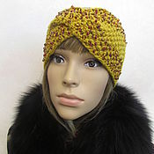 Аксессуары handmade. Livemaster - original item Headband with beads and Czech beads, half-wool, mustard color.. Handmade.
