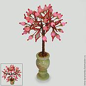 Цветы и флористика handmade. Livemaster - original item Tree of happiness rose quartz in a vase of onyx. Handmade.