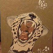 Для дома и интерьера ручной работы. Ярмарка Мастеров - ручная работа барельеф-панно Леопард. Handmade.