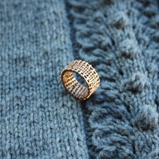 Кольца ручной работы. Ярмарка Мастеров - ручная работа. Купить Кольцо из меди Knitted. Handmade. Коричневый, подарок девушке, вязаный