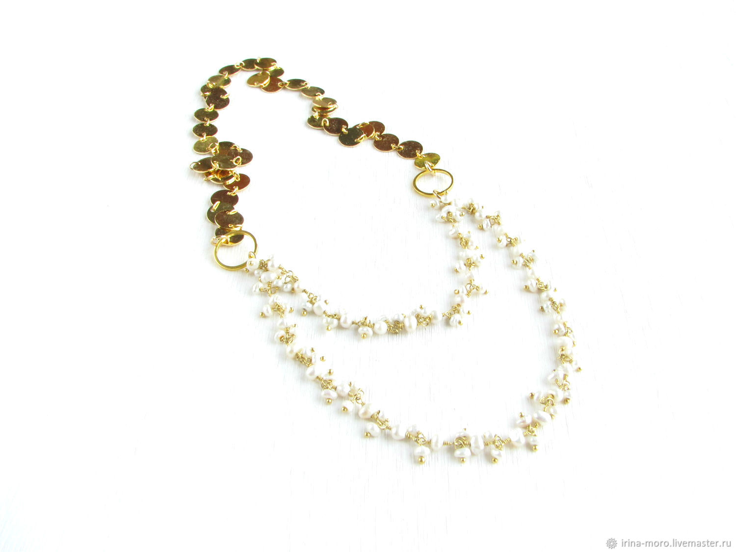 Pearl necklace, Gold necklace, Delicate pearl necklace, Necklace, Moscow,  Фото №1