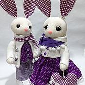 Мягкие игрушки ручной работы. Ярмарка Мастеров - ручная работа Игрушки: Пара зайцев. Handmade.