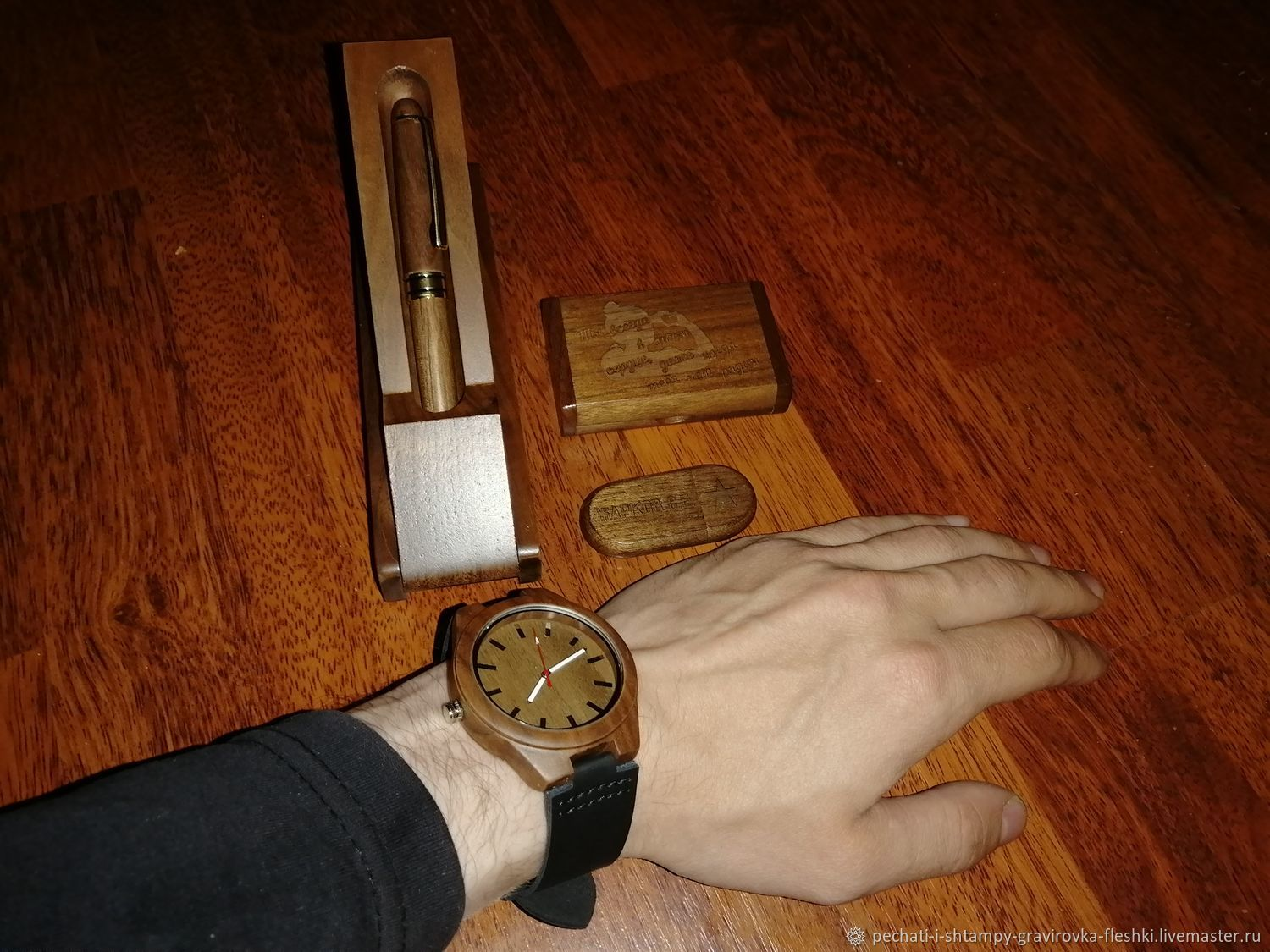 Wooden wrist watch with engraving, gift from wood, souvenir, Watches, Barnaul,  Фото №1