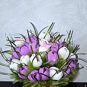 Цветы и флористика ручной работы. Ярмарка Мастеров - ручная работа букет из конфет    Ах эти крокусы! Первоцветы подарок на 8 марта. Handmade.