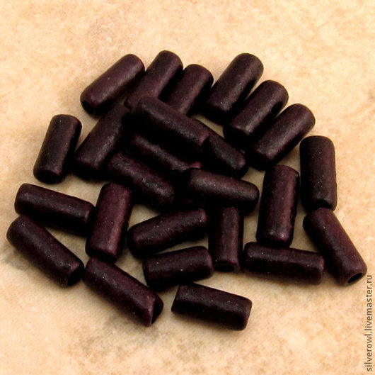 Для украшений ручной работы. Ярмарка Мастеров - ручная работа. Купить Узкие трубочки керамические, Миконос, бордово-коричневые. Handmade.