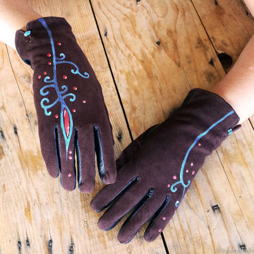 "Accessories handmade. Livemaster - original item Brown women leather gloves.Unique design ""Fire"" Size 8. Handmade."