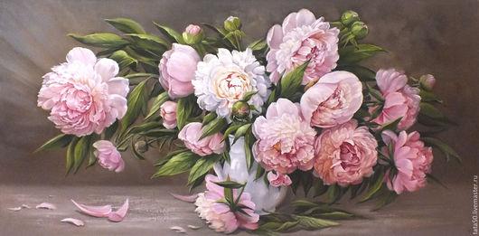 """Картины цветов ручной работы. Ярмарка Мастеров - ручная работа. Купить """"Весенние цветы """". Handmade. Бледно-розовый"""