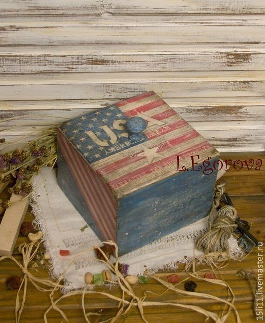 """Корзины, коробы ручной работы. Ярмарка Мастеров - ручная работа. Купить Короб для хранения """"USA"""". Handmade. Короб для хранения"""