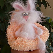 Куклы и игрушки handmade. Livemaster - original item Knitted Bunny Mowing with a mobile chair, cot ). Handmade.