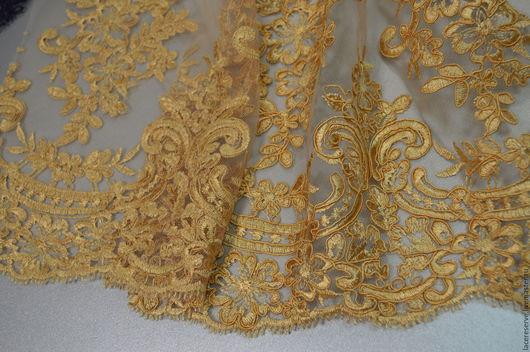 Шитье ручной работы. Ярмарка Мастеров - ручная работа. Купить Золотистая вышивка на сетке, Италия. Handmade. Лимонный, кружево для юбки