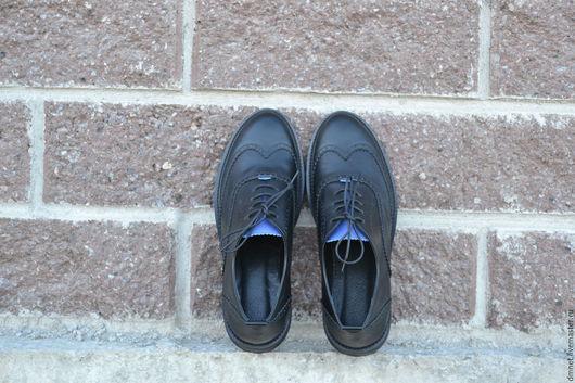 Обувь ручной работы. Ярмарка Мастеров - ручная работа. Купить Мужской оксфорд NICOLAS черный с синим языком. Handmade. Черный