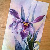 """Открытки ручной работы. Ярмарка Мастеров - ручная работа Почтовая открытка """" Изящная орхидея"""". Handmade."""