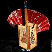 Pencil holders handmade. Livemaster - original item Pencil in Japanese style Geisha. Handmade.