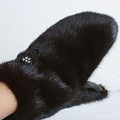 Аксессуары ручной работы. Ярмарка Мастеров - ручная работа Варежки темно-коричневые с кожей. Handmade.