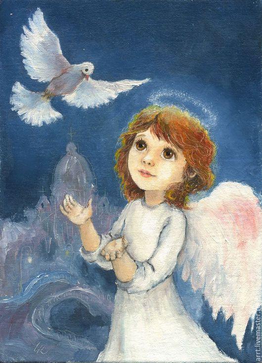 Детская ручной работы. Ярмарка Мастеров - ручная работа. Купить Ангел и Белая Голубка Принт 15х20см. Handmade. Белый, ангелочек