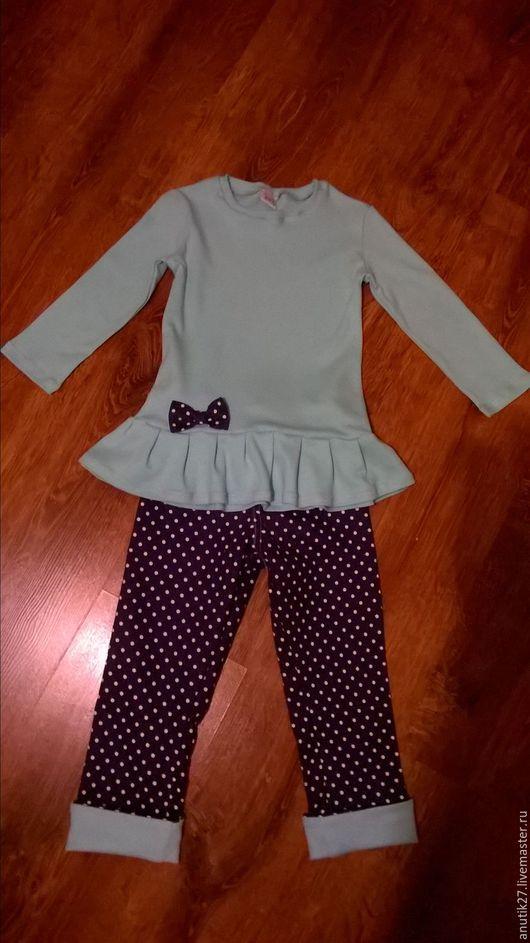 """Одежда для девочек, ручной работы. Ярмарка Мастеров - ручная работа. Купить Костюм """"горох и мята"""". Handmade. Комбинированный, джинсы в горошек"""