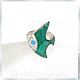 Кольцо `Рыбка`  ARIEL - Алёна - МОЗАИКА  Москва  Кольцо с малахитом  Кольцо с бирюзой Кольцо с перламутром  Кольцо Мозаика из натуральных камней