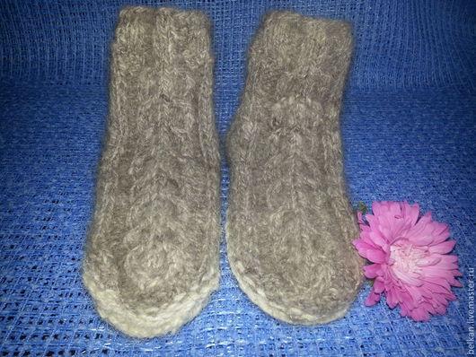 Носки, Чулки ручной работы. Ярмарка Мастеров - ручная работа. Купить Тапочки - Носочки из собачьей шерсти. Handmade. Серый