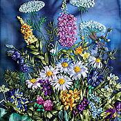 """Картины и панно ручной работы. Ярмарка Мастеров - ручная работа Картина """" Полевые цветы ночью""""ю Вышивка лентами. Украшение интерьера. Handmade."""