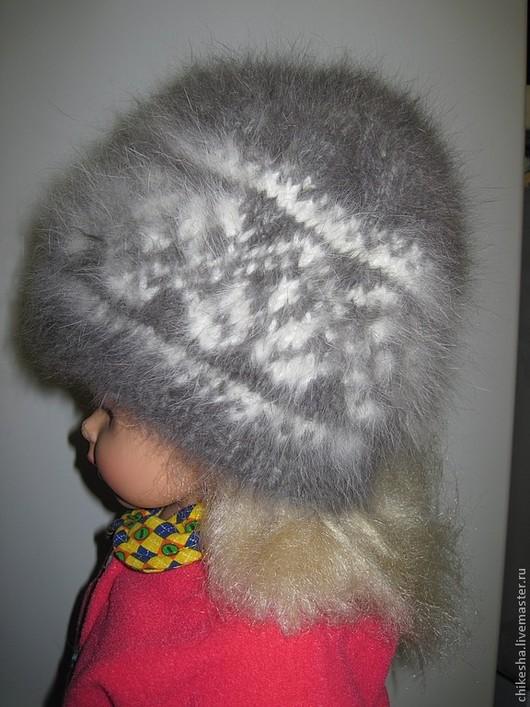 Шапки ручной работы. Ярмарка Мастеров - ручная работа. Купить Женская шапка из кроличьего пуха. Handmade. Белый, с рисунком, жаккард