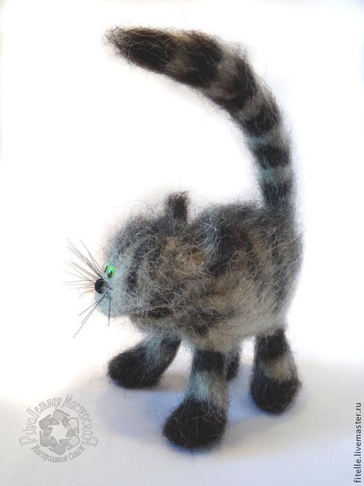 """Игрушки животные, ручной работы. Ярмарка Мастеров - ручная работа. Купить Кот """" Забияка"""". Handmade. Серый, кот из шерсти"""