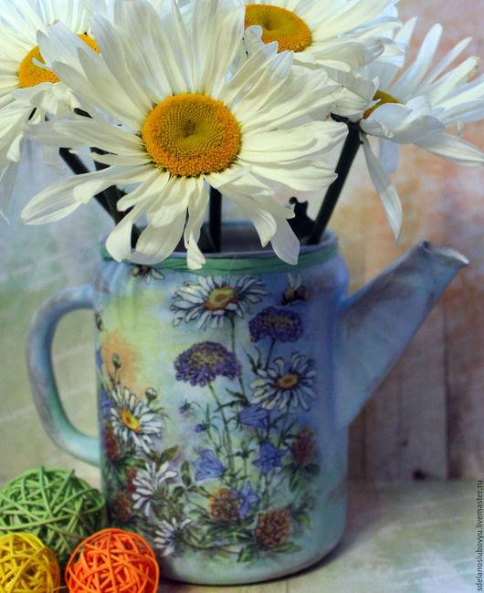 Кухня ручной работы. Ярмарка Мастеров - ручная работа. Купить Винтажный чайник-кофейник Ромашковое лето декупаж. Handmade. Голубой