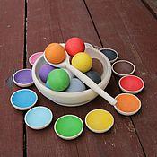 """Игровые наборы ручной работы. Ярмарка Мастеров - ручная работа """"Шарики на тарелочках"""". Развивающие деревянные игрушки.. Handmade."""