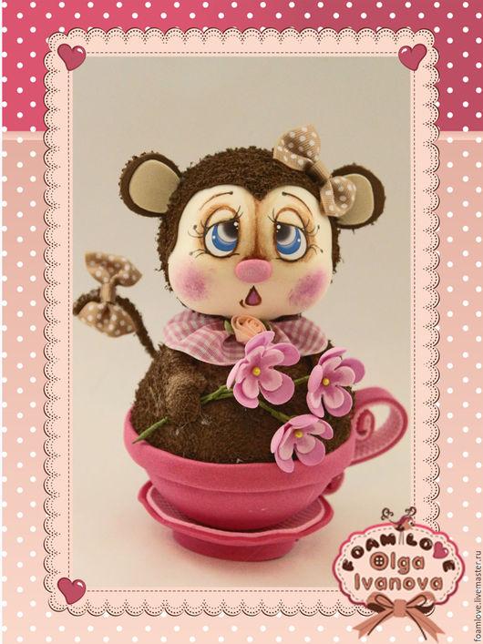 Игрушки животные, ручной работы. Ярмарка Мастеров - ручная работа. Купить обезьяна в кружке. Handmade. Комбинированный, обезьяна, обезьянка игрушка