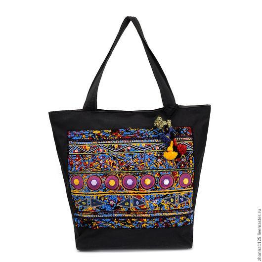 Сумка ручной работы. Купить бохо сумку `Сатори`, бохо сумка, черная сумка с вышивкой, handmade, большая сумка, яркая сумка, женская сумка, автор Zhanna Petrakova Atelier Moscow