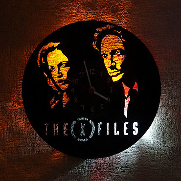 For home and interior handmade. Livemaster - original item Wall clock with LED light from the album X-files. Handmade.