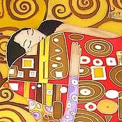 """Картины и панно ручной работы. Ярмарка Мастеров - ручная работа Панно батик """" Объятия"""" по мотивам Густава Климта. Handmade."""