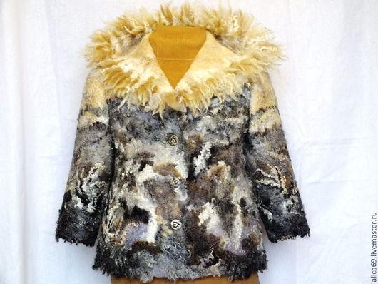 Пиджаки, жакеты ручной работы. Ярмарка Мастеров - ручная работа. Купить Валяный жакет..Падал первый снег. Handmade. Абстрактный