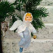Куклы и игрушки ручной работы. Ярмарка Мастеров - ручная работа Ватная ёлочная игрушка ангел. Handmade.