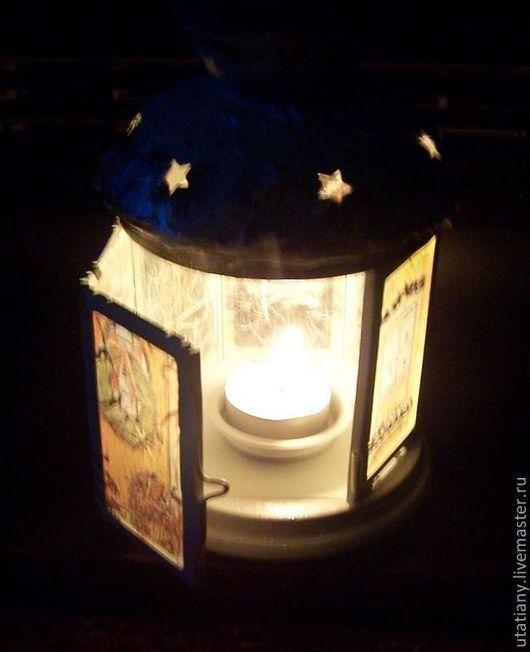 """Праздничная атрибутика ручной работы. Ярмарка Мастеров - ручная работа. Купить Фонарик для  свечи """"В ожидании Нового года"""". Handmade."""