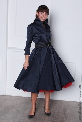 """Платья ручной работы. Ярмарка Мастеров - ручная работа. Купить Ретро платье в стиле 50-х  """"Синий круг"""". Handmade."""