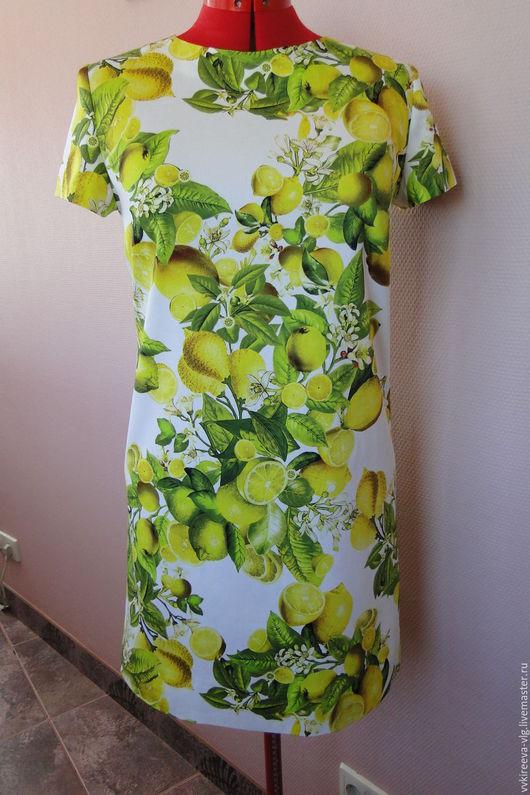 Платья ручной работы. Ярмарка Мастеров - ручная работа. Купить Платье лимоны Dolce Gabbana. Handmade. Белый, летнее платье