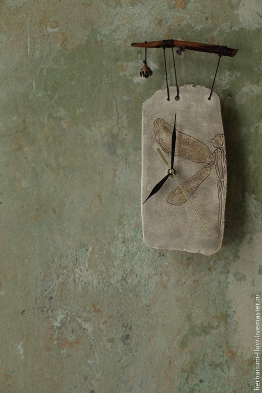 Часы для дома ручной работы. Ярмарка Мастеров - ручная работа. Купить часы со стрекозой. Handmade. Часы настенные, стрекоза