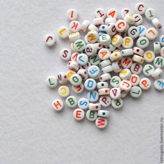 """Шитье ручной работы. Ярмарка Мастеров - ручная работа. Купить Набор бусин пластиковых """"Алфавит"""" (10шт/упак). Handmade. Разноцветный, пуговицы"""