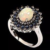 Украшения handmade. Livemaster - original item Sold. Silver ring with opal and sapphires, p. .16. Handmade.