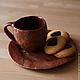 Кружка и тарелка из красной глины со слюдой Каштановый чай