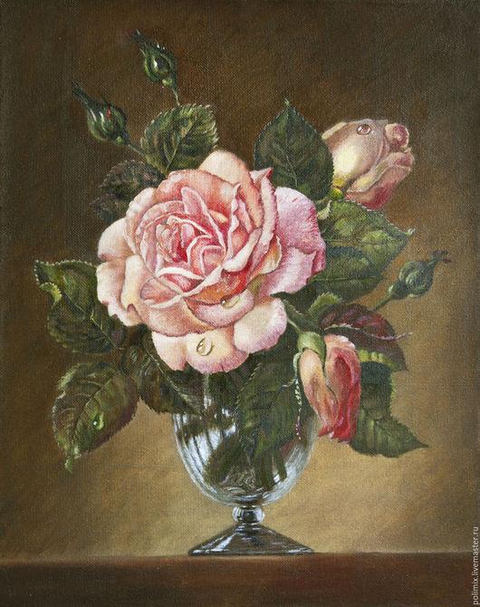 Картины цветов ручной работы. Ярмарка Мастеров - ручная работа. Купить Роза в стеклянной вазе. Handmade. Комбинированный, холст масло