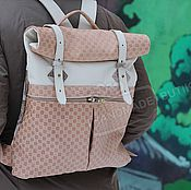 Сумки и аксессуары handmade. Livemaster - original item Urban backpack genuine full grain leather Combi, black, Beige, milk. Handmade.