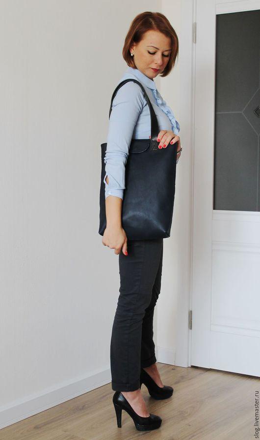 Женские сумки ручной работы. Ярмарка Мастеров - ручная работа. Купить Сумка шоппер из натуральной кожи. Handmade. Тёмно-синий