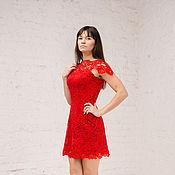 Одежда ручной работы. Ярмарка Мастеров - ручная работа Новогоднее красное кружевное платье. Handmade.