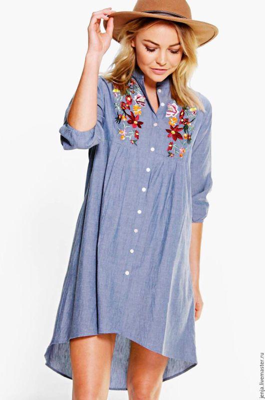 Платья ручной работы. Ярмарка Мастеров - ручная работа. Купить Flowers and denim shirt dress. Handmade. Голубой