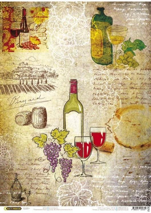 Декупаж и роспись ручной работы. Ярмарка Мастеров - ручная работа. Купить Карта вин (CP04334) - рисовая бумага, А3. Handmade.