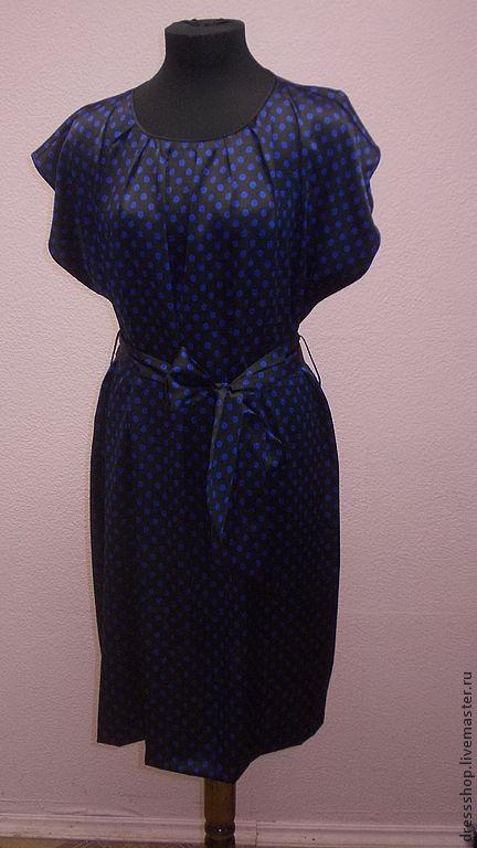 """Платья ручной работы. Ярмарка Мастеров - ручная работа. Купить Шелковое платье """"Ретро"""" горошек. Handmade. Черный, ретро платье"""