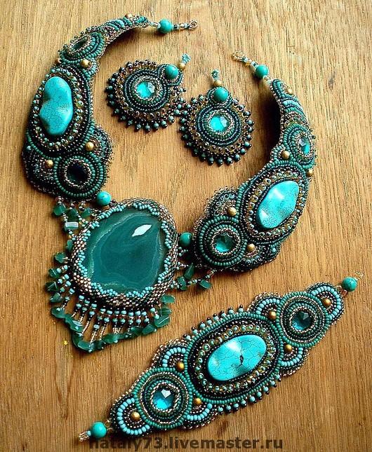 Jewelry Sets handmade. Livemaster - handmade. Buy necklace 'Morocco' (3 options!).Sea wave, bead embroidery, fabric