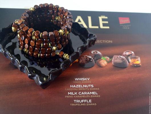 Браслеты ручной работы. Ярмарка Мастеров - ручная работа. Купить Браслет мемори  из дерева – Шоколадные конфеты. Handmade. Коричневый